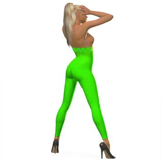 3D Leggings Caro, hohe Taille mit Spitze